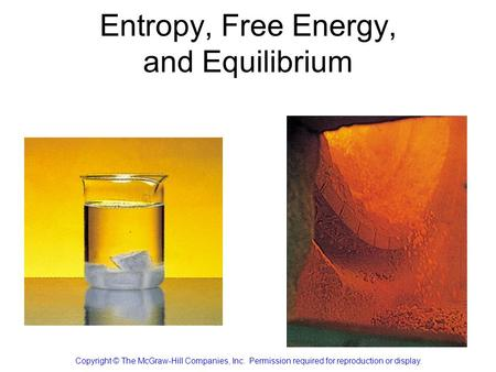 Entropy, Free Energy, and Equilibrium Copyright © The McGraw-Hill Companies, Inc. Permission required for reproduction or display.