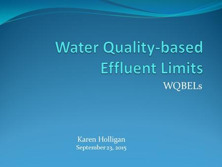 WQBELs Karen Holligan September 23, 2015. WQBELs – A Four-Piece Puzzle Numerical criteria (toxic pollutants) Water body quality Effluent fraction Bioavailable.