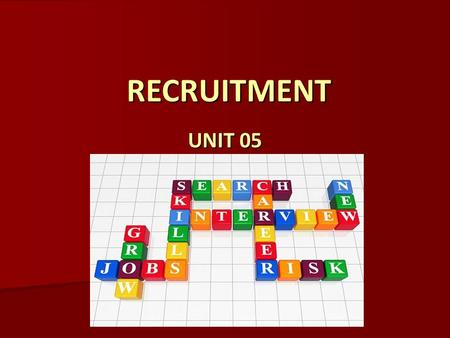 RECRUITMENT RECRUITMENT UNIT 05. ARE YOU LOOKING FORWARD TO THIS FUTURE?