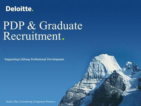 PDP & Graduate Recruitment. Supporting Lifelong Professional Development.