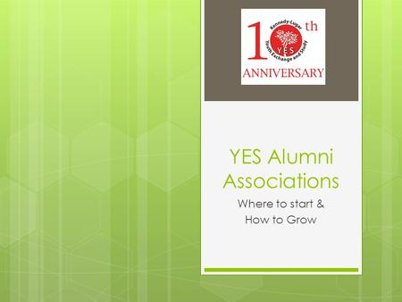 YES Alumni Associations Where to start & How to Grow.