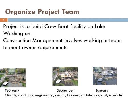 Organize Project Team 1 Project is to build Crew Boat facility on Lake Washington Construction Management involves working in teams to meet owner requirements.