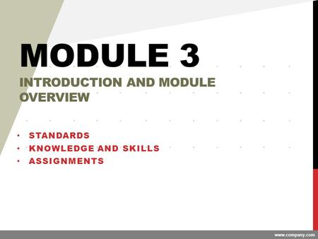 Www.company.com MODULE 3 INTRODUCTION AND MODULE OVERVIEW STANDARDS KNOWLEDGE AND SKILLS ASSIGNMENTS.