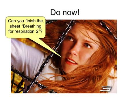"Do now! Can you finish the sheet ""Breathing for respiration 2""?"