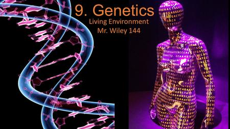 9. Genetics Living Environment Mr. Wiley 144. Genetics- the study of heredity Heredity- passing of traits from parent to offspring Trait- Genetics.
