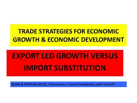 import vs export substitution Econ 314 midterm - export promotion and import a governmental effort to expand a country's exports by increasing export incentives import substitution.