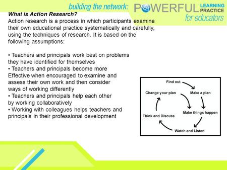 What is Action Research? Action research is a process in which participants examine their own educational practice systematically and carefully, using.