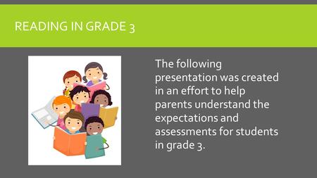 READING IN GRADE 3 The following presentation was created in an effort to help parents understand the expectations and assessments for students in grade.