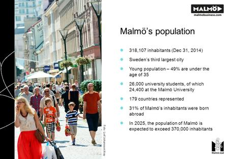 Malmö's population Photo: Leif Johansson Xray 318,107 inhabitants (Dec 31, 2014) Sweden's third largest city Young population – 49% are under the age of.