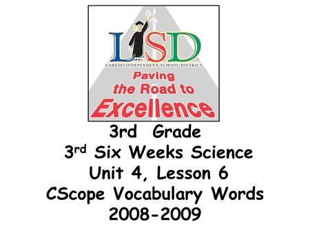 3rd Grade 3 rd Six Weeks Science Unit 4, Lesson 6 CScope Vocabulary Words 2008-2009.