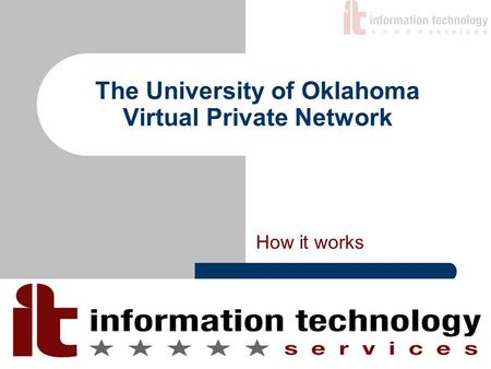 The University of Oklahoma Virtual Private Network How it works.