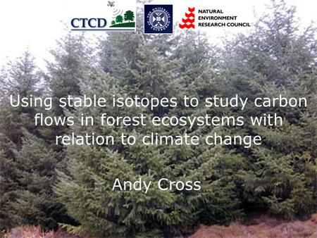 Carbon Flows in Forest Ecosystems with relation to climate change Andy Cross Using stable isotopes to study carbon flows in forest ecosystems with relation.