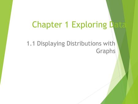 Chapter 1 Exploring Data 1.1 Displaying Distributions with Graphs.