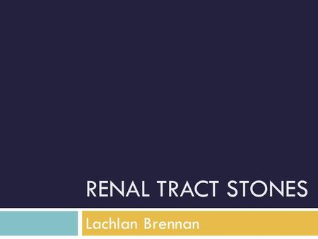 "RENAL TRACT STONES Lachlan Brennan. Since the Stone Age ""I will not cut persons laboring under the stone, but will leave this to be done by men who are."