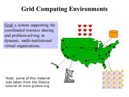 Grid Computing Environments Grid: a system supporting the coordinated resource sharing and problem-solving in dynamic, multi-institutional virtual organizations.