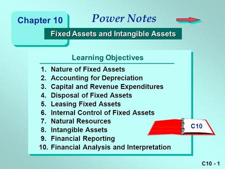 C10 - 1 Learning Objectives Power Notes 1.Nature of Fixed Assets 2.Accounting for Depreciation 3.Capital and Revenue Expenditures 4.Disposal of Fixed Assets.