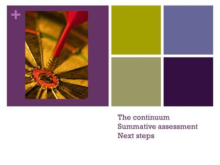 + The continuum Summative assessment Next steps. Gallery Walk – the Bigger Picture Take one post it of each of the 3 colours. Walk around a look at the.