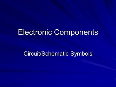 Electronic Components Circuit/Schematic Symbols. RESISTOR Resistors restrict the flow of electric current, for example a resistor is placed in series.
