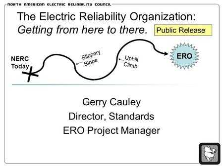 The Electric Reliability Organization: Getting from here to there. Gerry Cauley Director, Standards ERO Project Manager ERO Slippery Slope NERC Today Uphill.