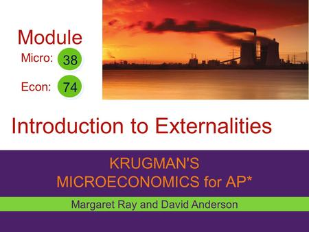 KRUGMAN'S MICROECONOMICS for AP* Introduction to Externalities Margaret Ray and David Anderson Micro: Econ: 38 74 Module.