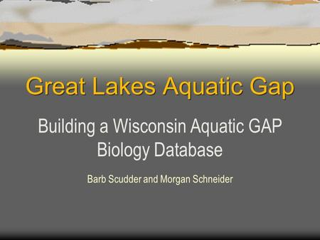 Great Lakes Aquatic Gap Building a Wisconsin Aquatic GAP Biology Database Barb Scudder and Morgan Schneider.