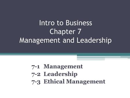Intro to Business Chapter 7 Management and Leadership 7-1 Management 7-2 Leadership 7-3 Ethical Management.