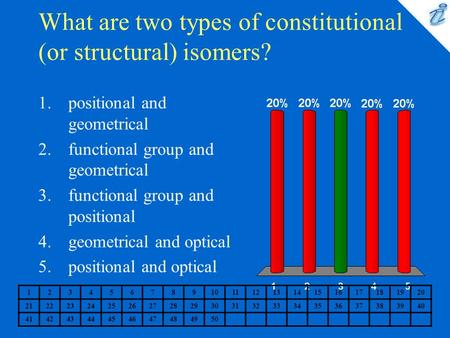 What are two types of constitutional (or structural) isomers? 1234567891011121314151617181920 2122232425262728293031323334353637383940 41424344454647484950.