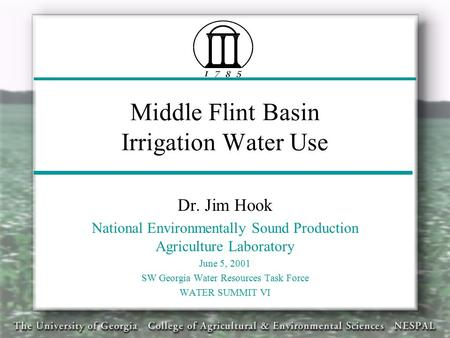 Middle Flint Basin Irrigation Water Use Dr. Jim Hook National Environmentally Sound Production Agriculture Laboratory June 5, 2001 SW Georgia Water Resources.
