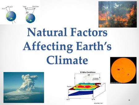 Natural Factors Affecting Earth's Climate. Natural Events Affecting Climate Earth's climate is complex There are a number of factors that have affected.