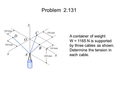 Problem 2.131 A container of weight W = 1165 N is supported by three cables as shown. Determine the tension in each cable. 600 mm 320 mm 450 mm 360 mm.