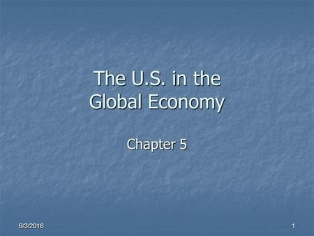 6/3/2016 1 The U.S. in the Global Economy Chapter 5.