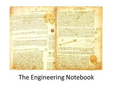 The Engineering Notebook. Leonardo da Vinci (1452-1519)