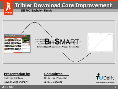 20-11-20071 1 Tribler Download Core Improvement IN3700 Bachelor Thesis Presentation by Rick van Hattem Raynor Vliegendhart Committee Dr. Ir. J.A. Pouwelse.