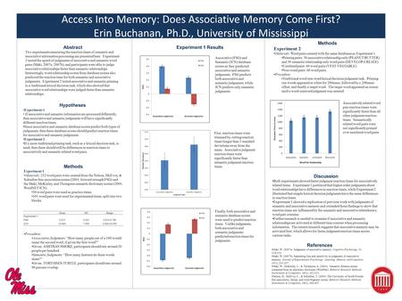 Access Into Memory: Does Associative Memory Come First? Erin Buchanan, Ph.D., University of Mississippi Abstract Two experiments measuring the reaction.