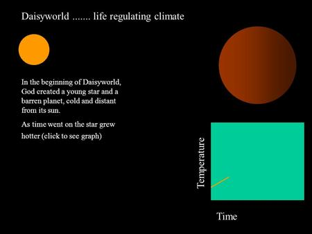 Daisyworld....... life regulating climate Temperature Time In the beginning of Daisyworld, God created a young star and a barren planet, cold and distant.