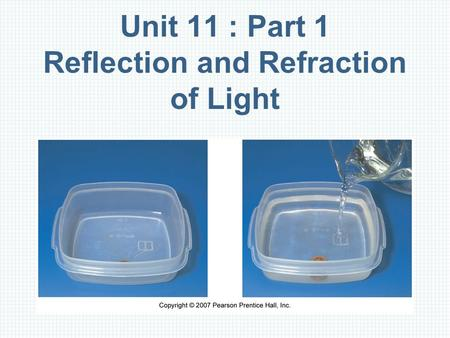 Unit 11 : Part 1 Reflection and Refraction of Light.