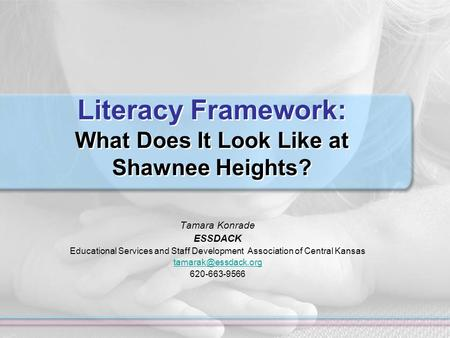 Literacy Framework: What Does It Look Like at Shawnee Heights? Tamara Konrade ESSDACK Educational Services and Staff Development Association of Central.