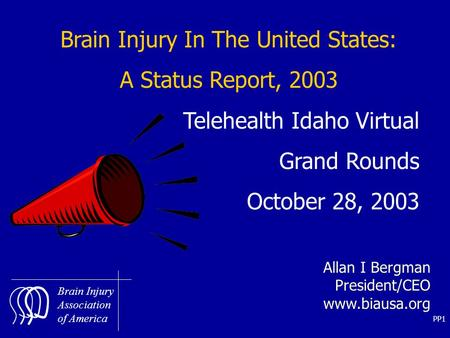 PP1 Brain Injury Association of America Brain Injury In The United States: A Status Report, 2003 Telehealth Idaho Virtual Grand Rounds October 28, 2003.