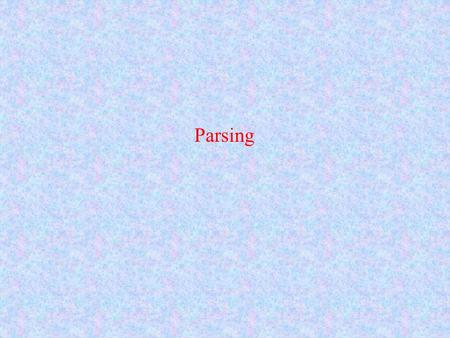 Parsing. Language A set of strings from an alphabet which may be empty, finite or infinite. A language is defined by a grammar and we may also say that.