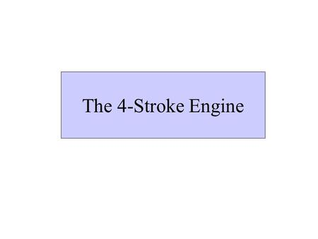 The 4-Stroke Engine Spark Plug InletValve Exhaust Valve CylinderPiston The 4-stroke Engine.