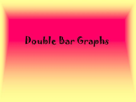 Double Bar Graphs Re-cap... What are the different types of graphs we have learned about? What are some of the things are graph must include? What is.