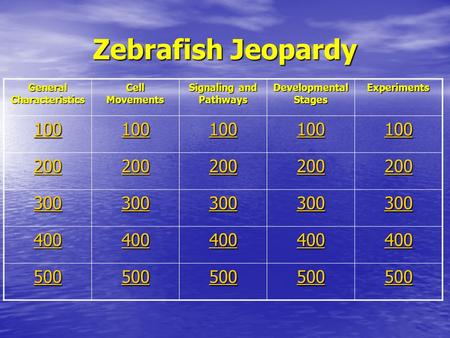 Zebrafish Jeopardy General Characteristics Cell Movements Signaling and Pathways Developmental Stages Experiments 100 200 300 400 500.