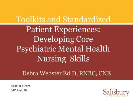 Toolkits and Standardized Patient Experiences: Developing Core Psychiatric Mental Health Nursing Skills Debra Webster Ed.D, RNBC, CNE NSP II Grant 2014-2016.