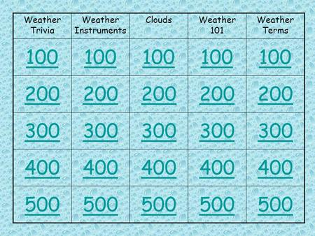 Weather Trivia Weather Instruments CloudsWeather 101 Weather Terms 100 200 300 400 500.