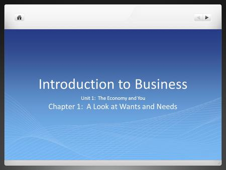 Introduction to Business Unit 1: The Economy and You Chapter 1: A Look at Wants and Needs.