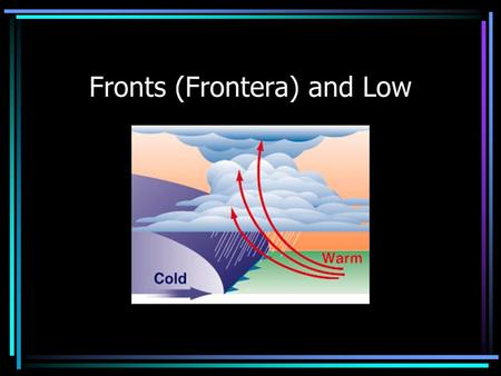 Fronts (Frontera) and Low. Weather in the mid-west is constantly changing. Changes in weather are caused by fronts Front (Frontera)– the boundary that.