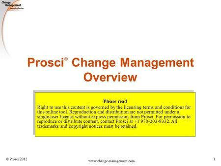 Prosci® Change Management Overview