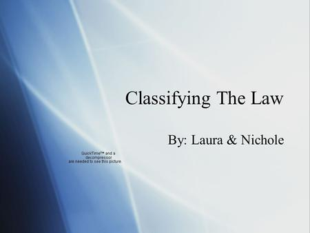 Classifying The Law By: Laura & Nichole. Law Division  Law is divided into many different areas. This is to cover everything in our legal system and.