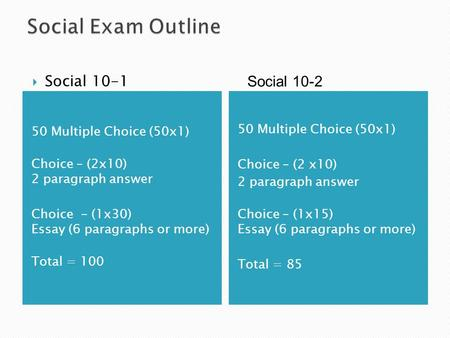 50 Multiple Choice (50x1) Choice – (2 x10) 2 paragraph answer Choice – (1x15) Essay (6 paragraphs or more) Total = 85  Social 10-1 50 Multiple Choice.