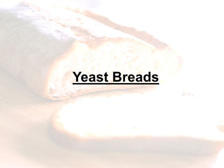 Yeast Breads. Ingredients in Breads: I.Yeast A. Yeast is a tiny living plant. B. What are the favorable conditions which are necessary for yeast to develop?
